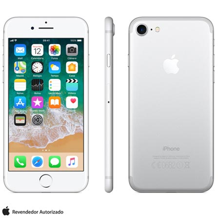 Iphone 7 Prata Com Tela de 4,7, 4g, 128 Gb e Câmera de 12 Mp - Mn932br/a - Aemn932brapta Bivolt