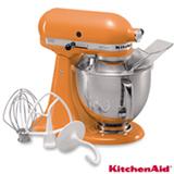 Batedeira Planetária Artisan KitchenAid Stand Mixer com 03 Batedores Tangerine