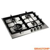 Cooktop à Gás de 4 Bocas Brastemp com Acendimento Superautomático Gourmand Inox - BDK60DRBNA