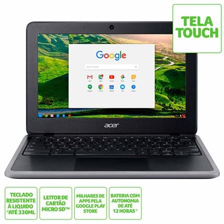 "Notebook - Acer C733t-c0qd Celeron N4000 1.10ghz 4gb 32gb Ssd Intel Hd Graphics 600 Google Chrome os 11,6"" Polegadas"