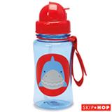 Garrafinha Zoo Tubarão Skip Hop Azul e Vermelha com Canudo e Tampa Flip-Top - A-15-017
