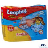 Fralda Descartável Looping Disney Maxi fort Prática com 20 Unidades Tamanho M
