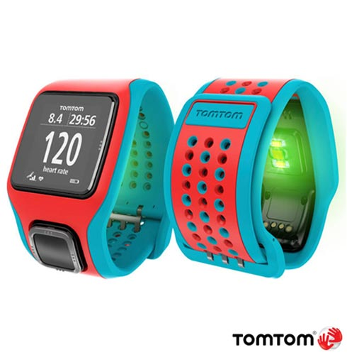 Relogio TomTom Runner Cardio Vermelho e Azul com GPS, Vermelho e Azul, 12 meses, Tomtom, Sim, Relógio