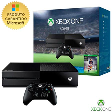 Console Xbox One 500GB + Jogo Fifa 16, Bivolt, Bivolt, Preto, Console Xbox One, Português, Blu-ray, 12 meses, Webfones