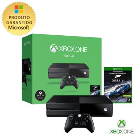 Console Xbox One com 500 GB de HD + Forza 6, Bivolt, Bivolt, Preto, Console Xbox One, Xbox One, Blu-ray, 12 meses, Webfones