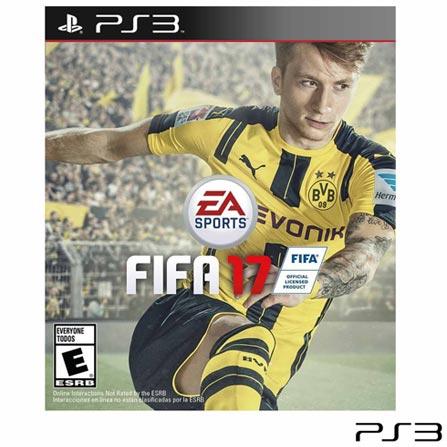 Jogo Fifa 17 para PS3, Não se aplica, Livre, Console PS3, PlayStation 3, Português, Português, Futebol, Blu-ray, 03 meses, Webfones