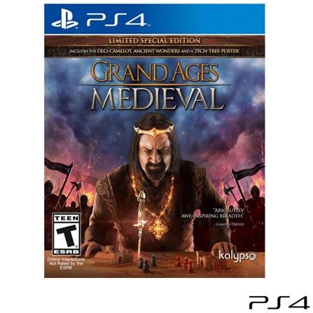 Jogo Grand Ages Medieval para PS4, Não se aplica, 14 anos, Console PS4, PlayStation 4, Inglês, Inglês, Blu-ray, 03 meses, Webfones