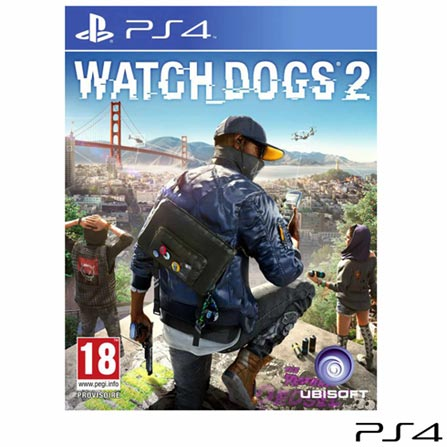 Jogo Watch Dogs 2 para PS4, Não se aplica, 14 anos, Console PS4, PlayStation 4, Português, Português, Blu-ray, 03 meses, Webfones