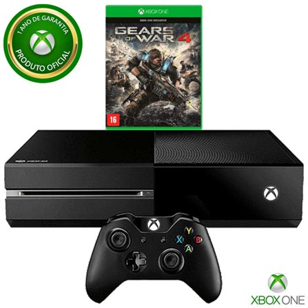 Console Xbox One 500GB sem Kinect + Jogo Gears of War 4 (Download), Bivolt, Bivolt, Preto, Console Xbox One, Português, Blu-ray, 12 meses, Webfones