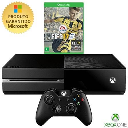 Console Xbox One 500GB sem Kinect + Jogo Fifa 17 (Download), Bivolt, Bivolt, Preto, Console Xbox One, Blu-ray, 12 meses, Webfones