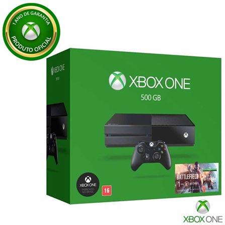 Console Xbox One 500GB sem Kinect + Jogo Battlefield™ 1 (Download), Bivolt, Bivolt, Preto, Console Xbox One, Blu-ray, 12 meses, Webfones
