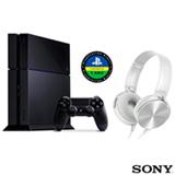 PlayStation 4 Nacional com 500GB e 01 Controle + Fone de Ouvido Sony Headphone com Extra Bass Branco - MDR-XB450AP