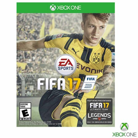 Jogo Fifa 17 para Xbox One, Não se aplica, Livre, Console Xbox One, Xbox One, Português, Português, Aventura e Ação, Blu-ray, 03 meses, Webfones