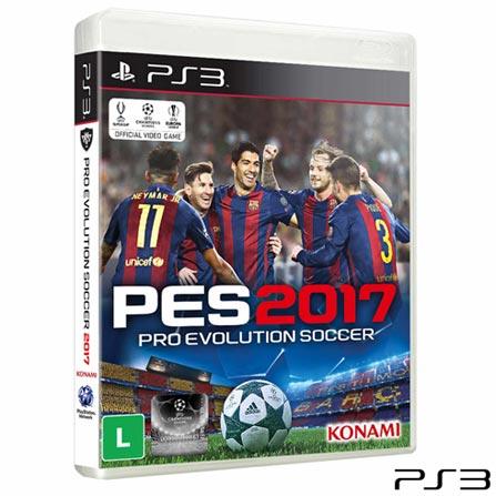 Jogo PES 2017 para PS3, Não se aplica, Livre, Console PS3, PlayStation 3, Português, Português, Esportes, Blu-ray, 03 meses, Webfones