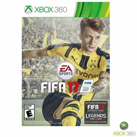 Jogo Fifa 17 para Xbox 360, Não se aplica, Livre, Console Xbox 360, Xbox 360, Português, Português, Futebol, DVD, 03 meses, Webfones