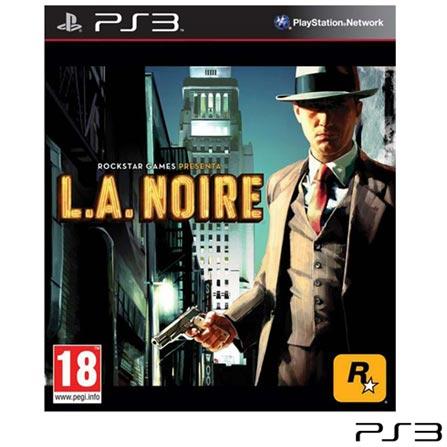 Jogo L.A Noire para PS3, Não se aplica, 18 anos, Console PS3, PlayStation 3, Inglês, Inglês, Ação, Blu-ray, 03 meses, Webfones