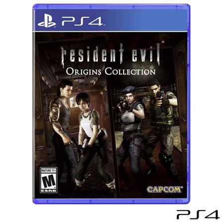 Jogo Resident Evil Origins: Collection para PS4, Não se aplica, 18 anos, Console PS4, PlayStation 4, Inglês, Inglês, Blu-ray, 03 meses, Webfones