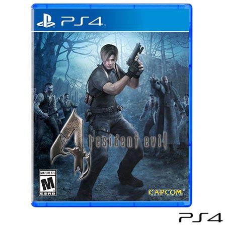 Jogo Resident Evil 4 para PS4, Não se aplica, 14 anos, Console PS4, PlayStation 4, Inglês, Inglês, Blu-ray, 03 meses, Webfones
