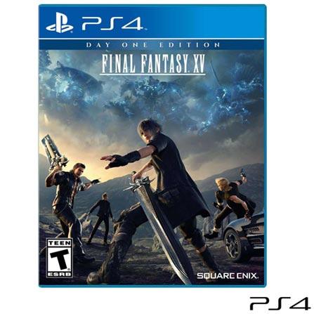 Jogo Final Fantasy XV para PS4, Não se aplica, 14 anos, Console PS4, PlayStation 4, Inglês, Português, RPG, Blu-ray, 03 meses, Webfones