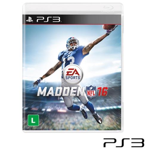 Jogo Madden NFL 16 para Playstation 3, Não se aplica, Livre, PlayStation 3, Inglês, Inglês, Esportes, Blu-ray, 03 meses, Webfones