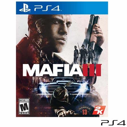 Jogo Mafia III para PS4, Não se aplica, 18 anos, Console PS4, PlayStation 4, Inglês, Português, Blu-ray, 03 meses, Webfones
