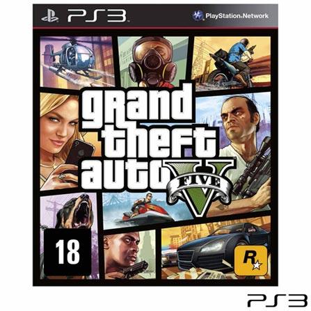 Jogo Grand Theft Auto V para PS3, Não se aplica, 18 anos, Console PS3, PlayStation 3, Inglês, Português, Blu-ray, 03 meses, Webfones