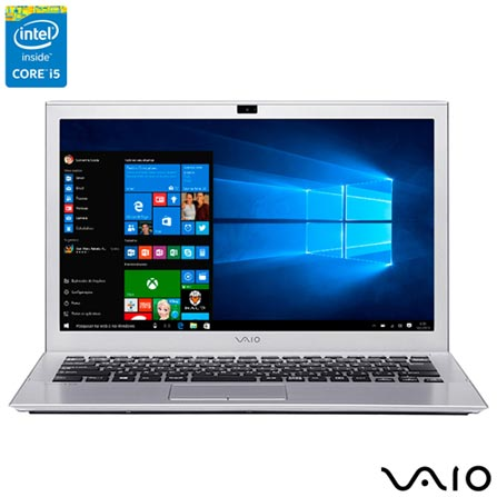 Notebook Vaio® Pro 13G, Intel® Core™ i5, 4GB, 128GB, Tela de 13.3'', Graphics 5500, Prata -  VJP132B0111S, Bivolt, Bivolt, Prata, 128 GB, 004096, Intel Core i5, Windows 10 Home, LCD, Não, 12 meses, Vaio