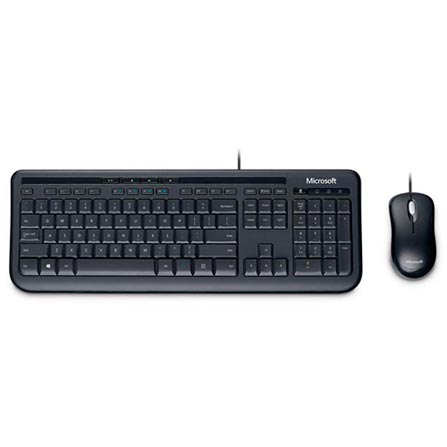 Kit Teclado e Mouse Usb Óptico Led 800 Dpis Wired 600 3j2-00006 Microsoft