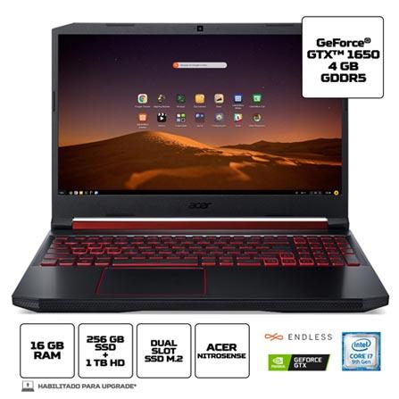 "Notebookgamer - Acer An515-54-76xc I7-9750h 2.60ghz 16gb 256gb Híbrido Geforce Gtx 1650 Endless os Nitro 5 15,6"" Polegadas"