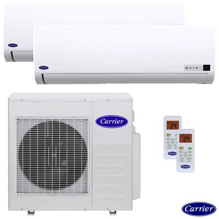 Ar Condicionado Multisplit Inverter Carrier com 2x 18.000 BTUs Quente e Frio Turbo Branco - 42LVMA18C5, 220V, Branco, Split, 18.000 BTUs, 12.000 a 18.500 BTUs, Quente e Frio, 03 meses, Multi-Ar