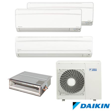 Ar Condicionado Multi Split Daikin Advance 9.000 + 12.000 + 18.000 + Duto 12.000 BTUs, Quente e Frio, Branco - FTXS25KVM, 220V, Branco, Split, 9.000 BTUs, 9.000 a 11.500 BTUs, Quente e Frio, 2380 W e 2240 W, A, 03 meses, Multi-Ar