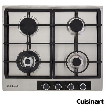 Cooktop a Gas Cuisinart Casual Cooking com Acendimento Automatico, Tripla Chama, com 04 Bocas em Aco Inox - P640STX, 220V, Aço Escovado, Inox, Gás, 12 meses, Spicy