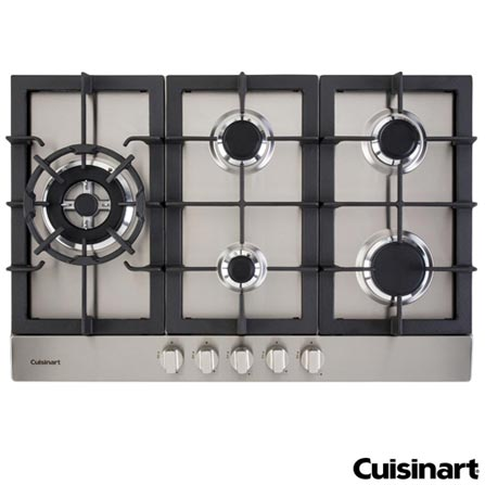 Cooktop a Gas Cuisinart Prime Cooking com 05 Bocas e Acendimento Automatico - PFA850SLTX-E, 220V, Aço Escovado, Gás, 12 meses, Spicy