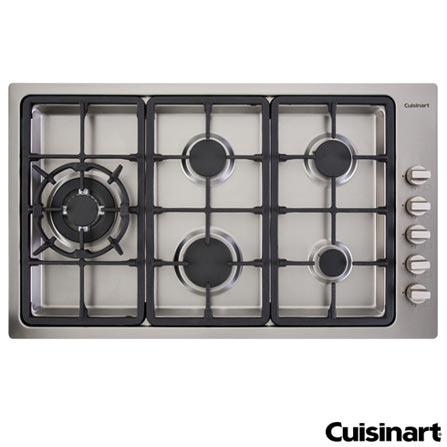 Cooktop a Gas Cuisinart Prime Cooking com 05 Bocas e Acendimento Automatico - PLF950SLTX-E, 220V, Aço Escovado, Inox, Gás, 12 meses, Spicy