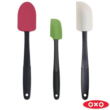 Conjunto de Espátulas com 3 Peças em Silicone Coloridas - Oxo, Colorido, Spicy, Silicone, 03 Peças