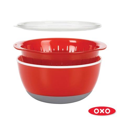 Conjunto de Bowl com Tampa Escorredor Vermelho - Oxo, Vermelho, Spicy, Plástico, 3