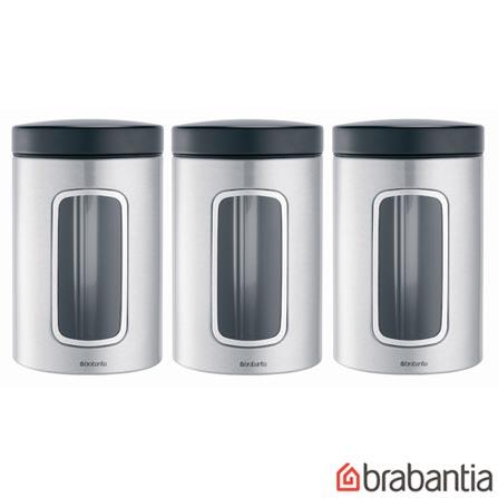Conjunto de Potes em Aço Escovado com 3 Peças - Brabantia, Não se aplica, Spicy, Inox, 3