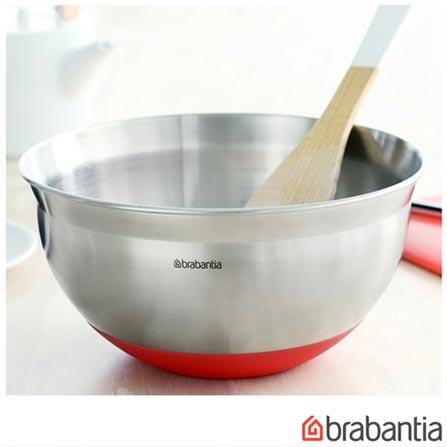Bowl em Aço Inox com Base em Silicone 1,6 Litros Vermelho - Brabantia, Vermelho, Spicy, Inox, 1