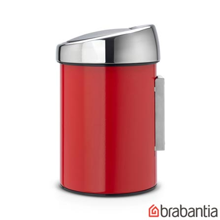 Lixeira Touch Bin em Aço Inox Vermelha com 3 Litros de Capacidade - Barbantia, Vermelho, Spicy, Inox, 01 Peça