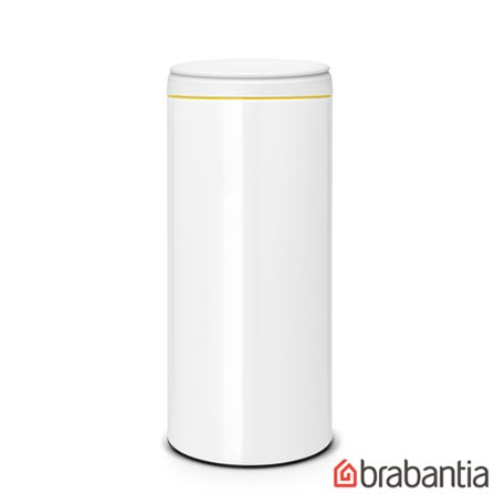 Lixeira Flip Bin em Aço Inox Branco com 30 Litros de Capacidade - Brabantia, Branco, Spicy, Aço Inox