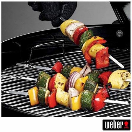 Conjunto de 04 Espetos para Churrasco em Aço Inox - Weber, Inox, Spicy, Aço Inoxidável, 04 Peças