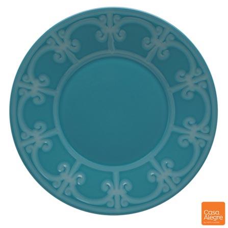 Prato para Sobremesa em Cerâmica Cottage Azul - Casa Alegre, Azul, Spicy, Cerâmica, 01 Peça