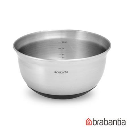 Bowl em Aço Inox Kitchen com Capacidade de 3 Litros e Base Emborrachada - Brabantia, Inox, Spicy, Inox, 1