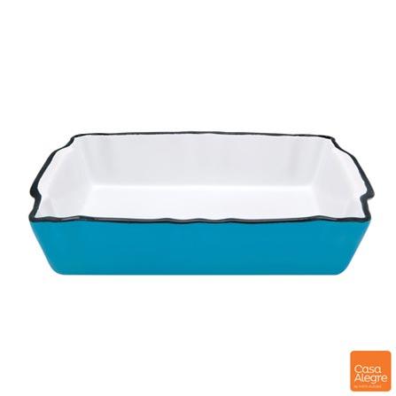 Travessa Retangular em Cerâmica Mixme com 2,4 Litros – Casa Alegre, Azul, Spicy, Cerâmica, 01 Peça