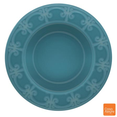 Prato Fundo em Cerâmica Cottage Azul - Casa Alegre, Azul, Spicy, Cerâmica, 01 Peça