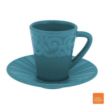 Xícara para Café com Pires em Cerâmica Cottage Azul - Casa Alegre, Azul, Spicy, Cerâmica, 02 Peças