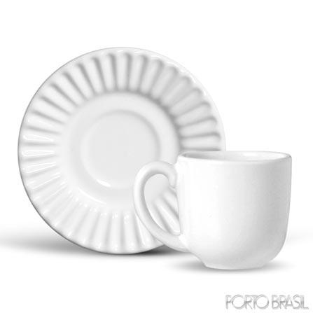 Xícara para Café Plisse de 75 ml em Cerâmica Branca - Porto Brasil, Branco, Spicy, Cerâmica, 01 Peça