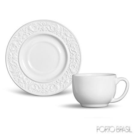 Xícara de Chá Baroque em Cerâmica Branca de 160 ml - Porto Brasil, Branco, Spicy, Cerâmica, 01 Peça