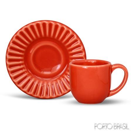 Xícara para Café Plisse em Cerâmica Vermelha de 75 ml - Porto Brasil, Vermelho, Spicy, Cerâmica, 01 Peça