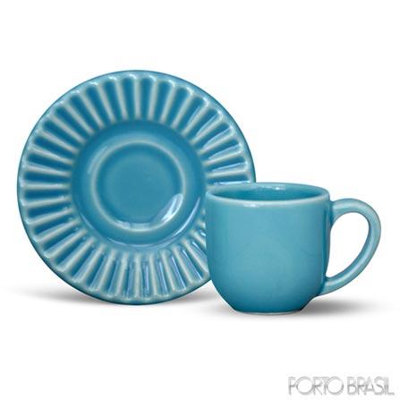 Xícara para Café Plisse em Cerâmica Azul de 75 ml - Porto Brasil, Azul, Spicy, Cerâmica, 01 Peça, Cerâmica